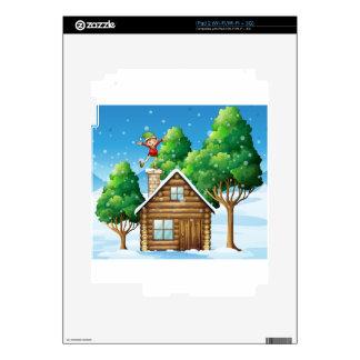 Una casa de madera con un duende juguetón en el iPad 2 skins