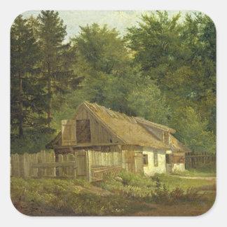 Una casa en el bosque de Frederiksdal cerca Pegatina Cuadrada
