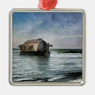 Una casa flotante que se mueve a través de una adorno cuadrado plateado