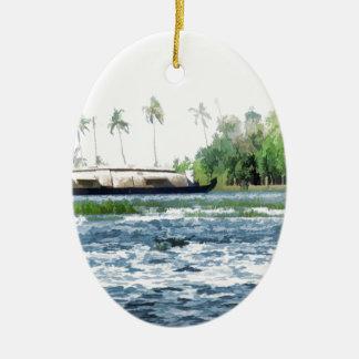 Una casa flotante tradicional en Kerala Adorno Ovalado De Cerámica