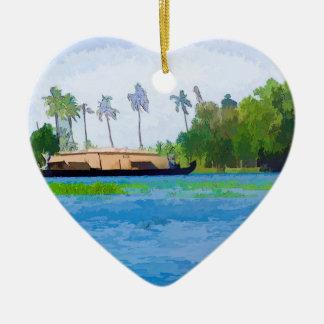 Una casa flotante tradicional en Kerala Adorno De Cerámica En Forma De Corazón