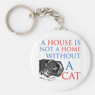 Una casa no es un gato casero… llavero redondo tipo pin