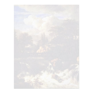 Una cascada en un paisaje rocoso de Ruisdael Jacob Plantillas De Membrete
