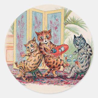 Una catástrofe de la fiesta del té - arte del gato pegatina redonda