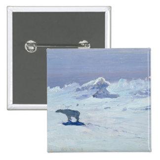 Una caza del oso polar en la noche iluminada por l pin cuadrado