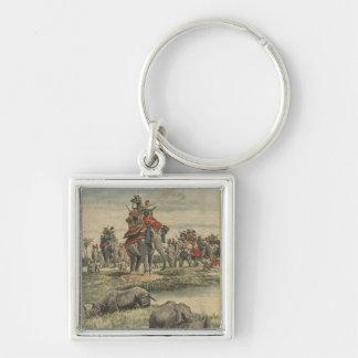 Una caza del rinoceronte en honor de rey George V Llavero Cuadrado Plateado