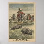 Una caza del rinoceronte en honor de rey George V Posters