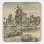 Una caza del rinoceronte en honor de rey George V Pegatina Cuadradas