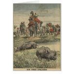 Una caza del rinoceronte en honor de rey George V Tarjetón