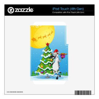 Una cebra al lado del árbol de navidad alto calcomanías para iPod touch 4G