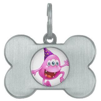Una celebración rosada del monstruo de la gorrita placas mascota