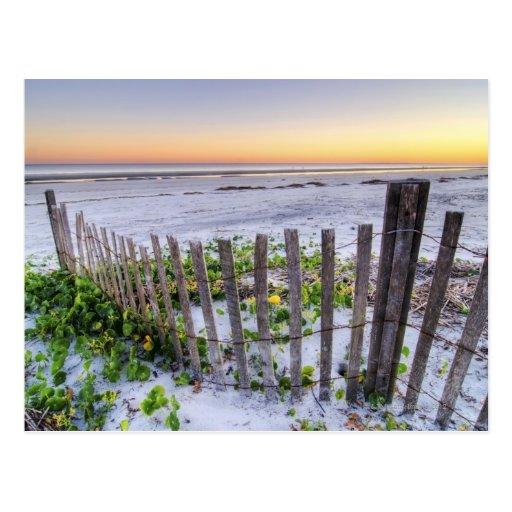 Una cerca de la playa en la puesta del sol postal