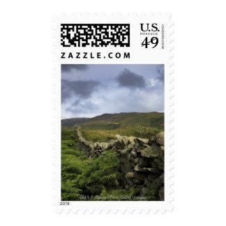 Una cerca de piedra a través de campos timbre postal