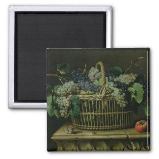 Una cesta de uvas imán cuadrado