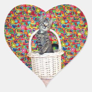 Una cesta por completo de Gato-itude - Patton - Pegatina En Forma De Corazón