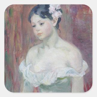 Una chica joven, 1893 pegatina cuadrada