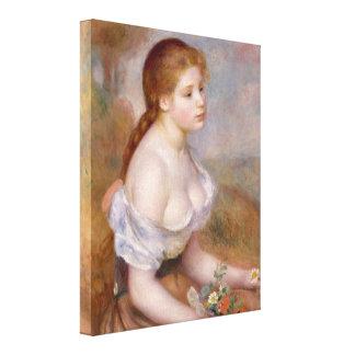 Una chica joven con las margaritas - impresión en lona estirada