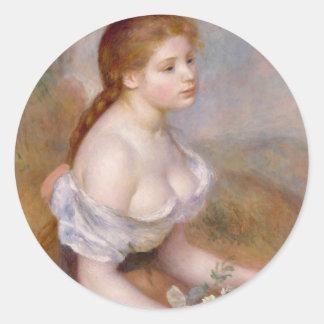 Una chica joven con las margaritas - pegatina redonda