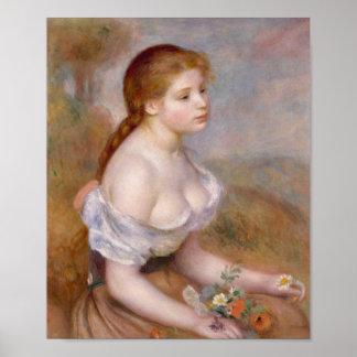 Una chica joven con las margaritas - Pierre-August Póster