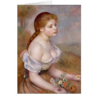 Una chica joven con las margaritas - Pierre-August Tarjeta De Felicitación
