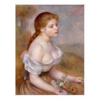 Una chica joven con las margaritas - postal