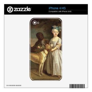 Una chica joven con un perro y una página, 1720-30 calcomanías para iPhone 4S