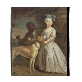Una chica joven con un perro y una página, 1720-30