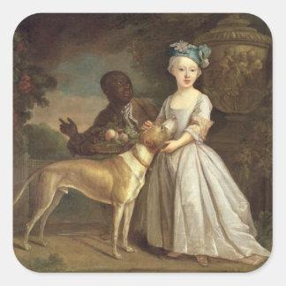 Una chica joven con un perro y una página, 1720-30 pegatina cuadrada