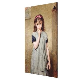 Una chica joven en la sala de clase, 1876 (aceite  impresion en lona