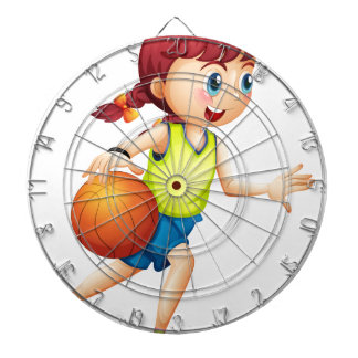 Una chica joven que juega a baloncesto tablero dardos