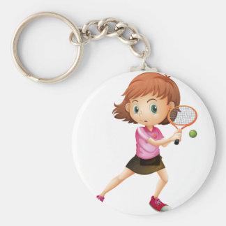 Una chica joven que juega a tenis llavero personalizado