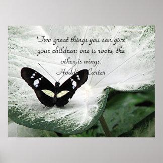Una cita negra de la mariposa para los niños póster
