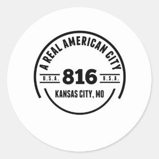 Una ciudad americana real Kansas City MES Pegatina Redonda