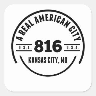 Una ciudad americana real Kansas City MES Pegatina Cuadrada