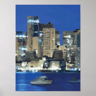 Una ciudad de luces chispeantes sobre la bahía poster