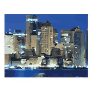 Una ciudad de luces chispeantes sobre la bahía tarjetas postales