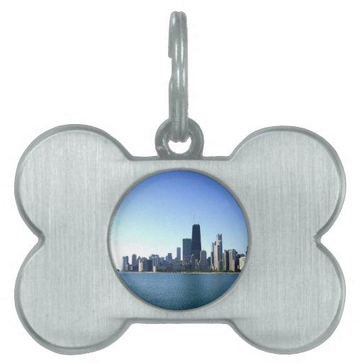 Una ciudad ventosa a través del lago placa de mascota