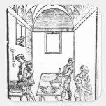 Una cocina medieval calcomanía cuadradas