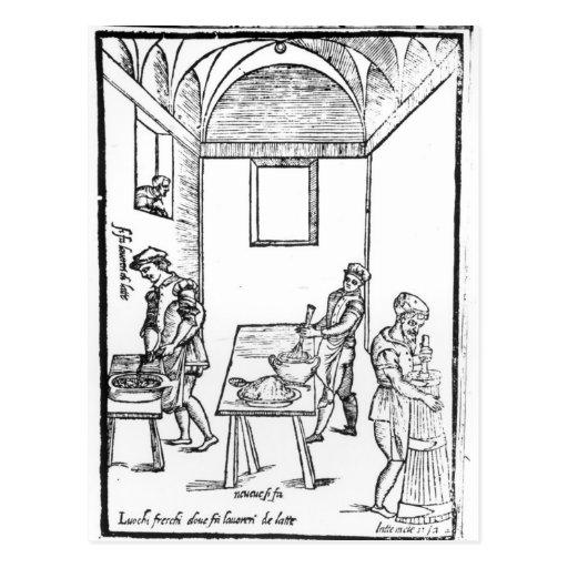 Una cocina medieval tarjetas postales