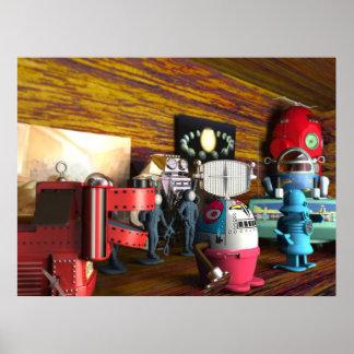 Una colección de juguetes del espacio del vintage  póster