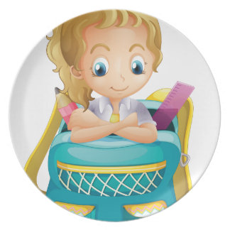 Una colegiala dentro de una cartera platos de comidas