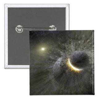 Una colisión entre los objetos masivos en espacio pin cuadrada 5 cm