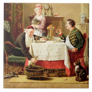 Una comida satisfactoria, 1883 (aceite en lona) azulejo cuadrado grande