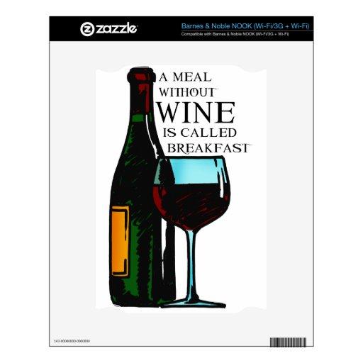 Una comida sin el vino… calcomanías para NOOK
