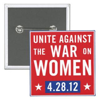 Una contra la guerra en el botón de las mujeres pin cuadrado