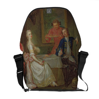 Una conversación de la cena (un hombre y una mujer bolsa messenger