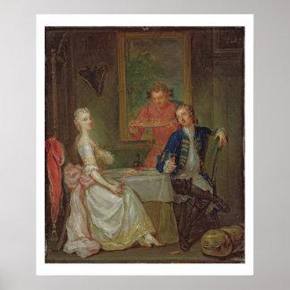 Una conversación de la cena (un hombre y una mujer póster