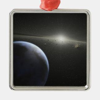 Una correa asteroide masiva en órbita alrededor de adorno navideño cuadrado de metal