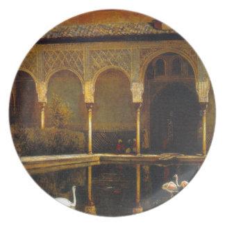 Una corte en Alhambra de señor Weeks de Edwin Platos Para Fiestas