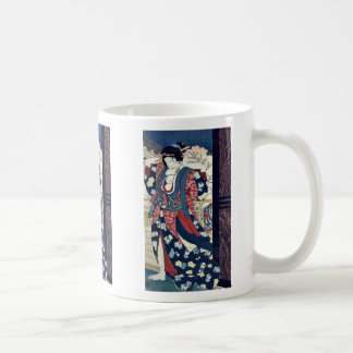 Una cortesana que fija su pelo por Taiso Yoshitos Taza De Café